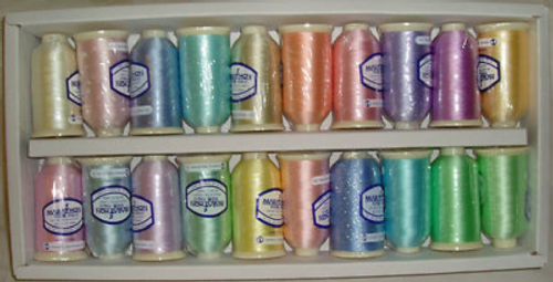 Marathon Embroidery Thread Rayon Box of 20 x 1000mtr Spools Pastel Shades